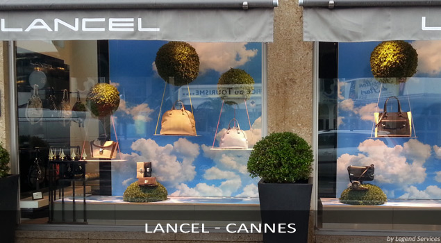 Installation PLV Lancel - Cannes (par Legend Services, expert en pose PLV)