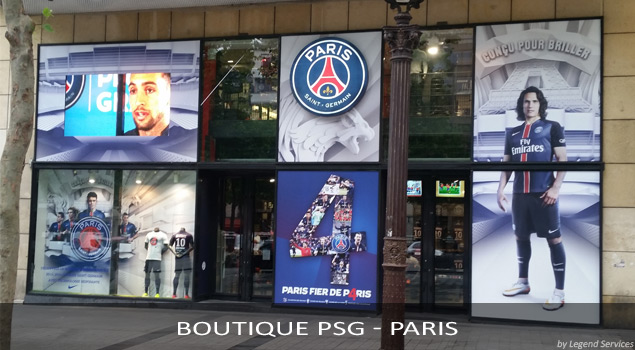 PLV et Signalétique Club PSG - Paris (par Legend Services, expert en installation PLV)